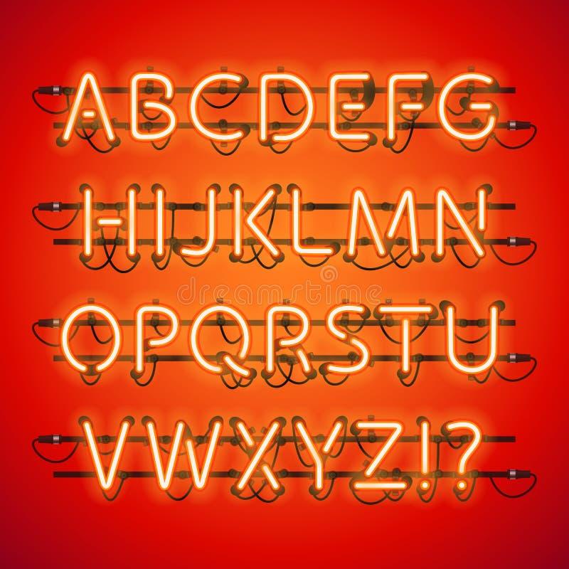 Alfabeto rojo de neón que brilla intensamente ilustración del vector