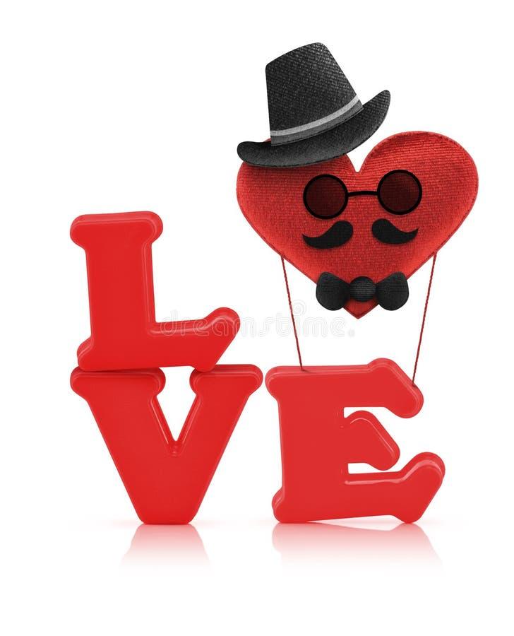 Alfabeto rojo del amor y balón de aire del corazón de la tela fotos de archivo libres de regalías
