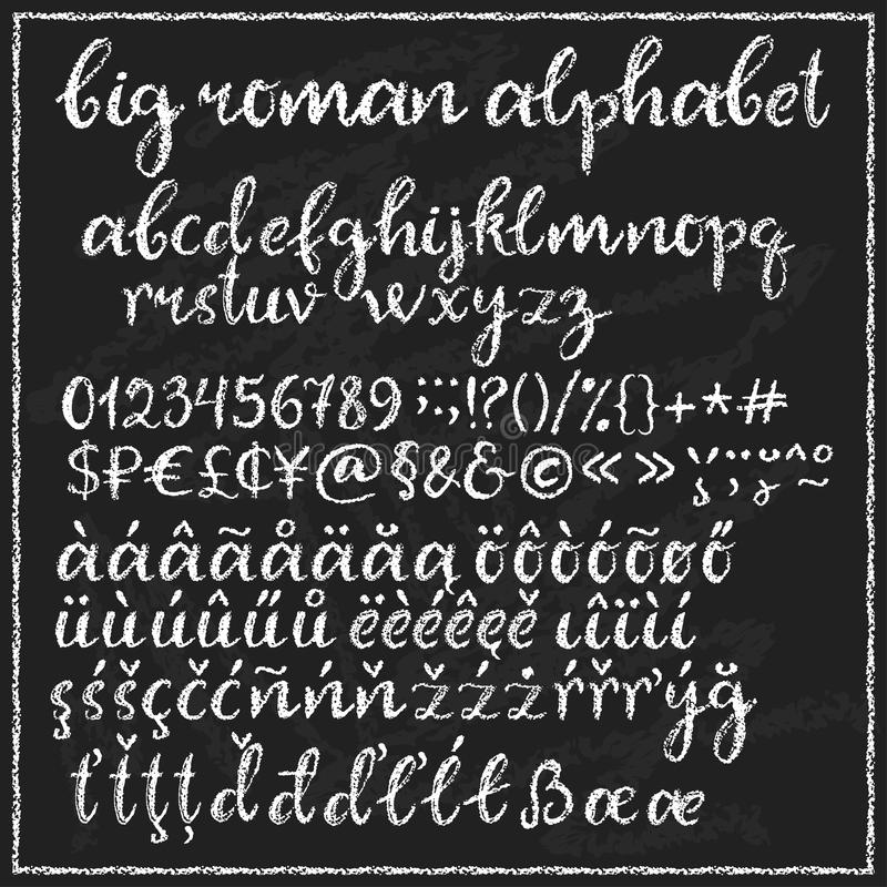 Alfabeto romano de la tiza grande ilustración del vector