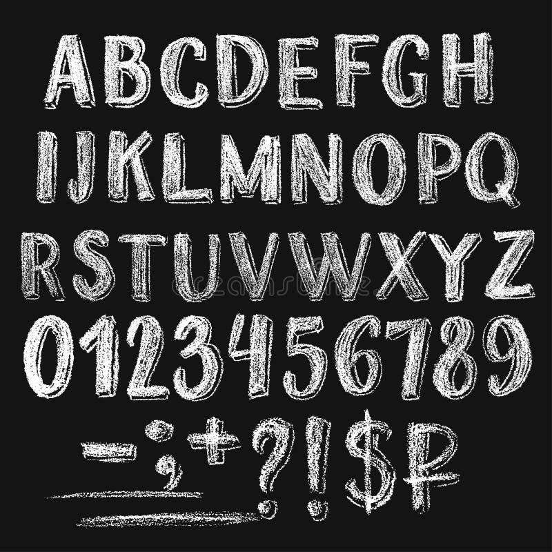 Alfabeto romano do giz de Sans Serif ilustração stock