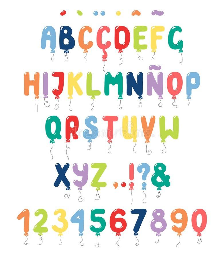 Alfabeto romano lindo de los globos con signos diacríticos libre illustration