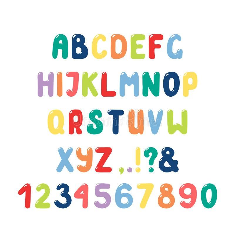 Alfabeto romano sveglio con i numeri, segni di interpunzione royalty illustrazione gratis