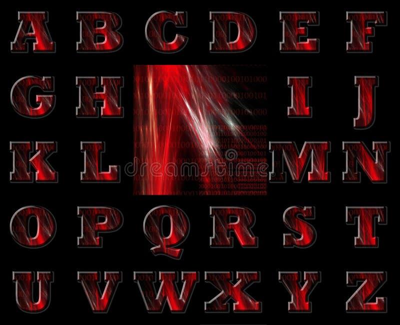Alfabeto rosso e priorità bassa di codice binario illustrazione di stock
