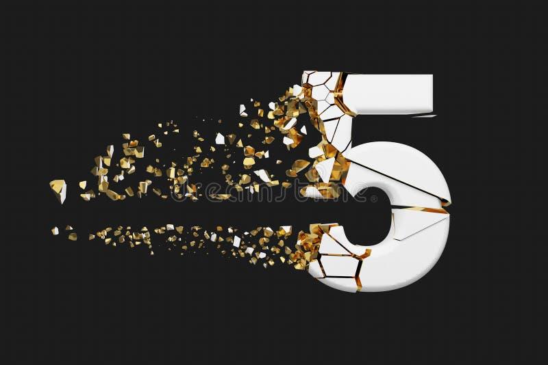 Alfabeto roto quebrado número 5 Fuente machacada del blanco y del oro 3D rinden aislado en fondo gris stock de ilustración