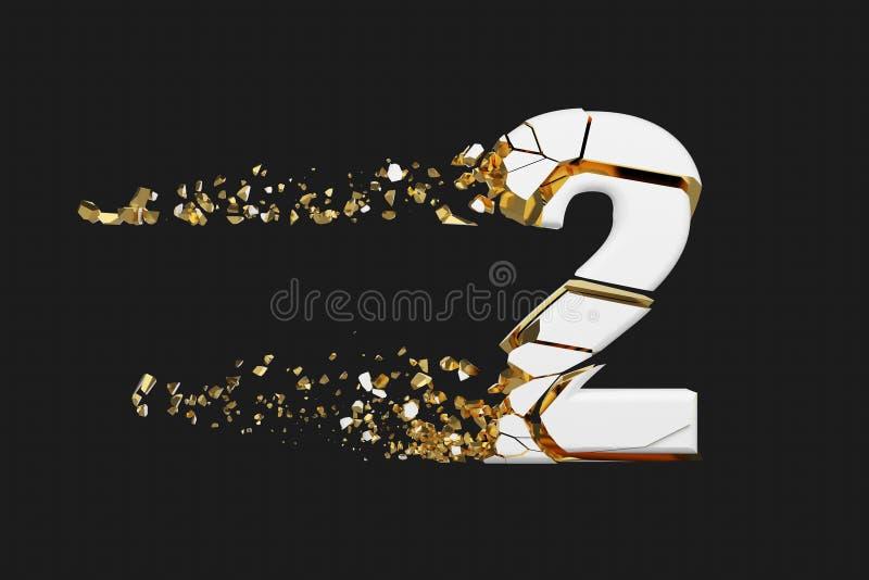 Alfabeto roto quebrado número 2 Fuente machacada del blanco y del oro 3D rinden aislado en fondo gris stock de ilustración