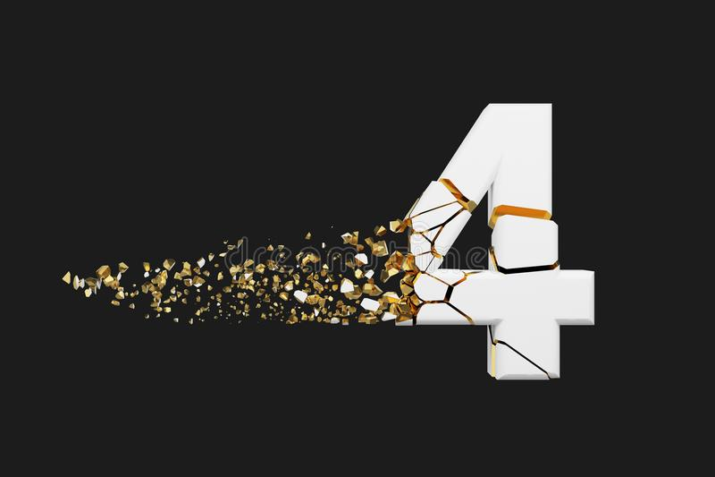 Alfabeto roto quebrado número 4 Fuente machacada del blanco y del oro 3D rinden aislado en fondo gris stock de ilustración