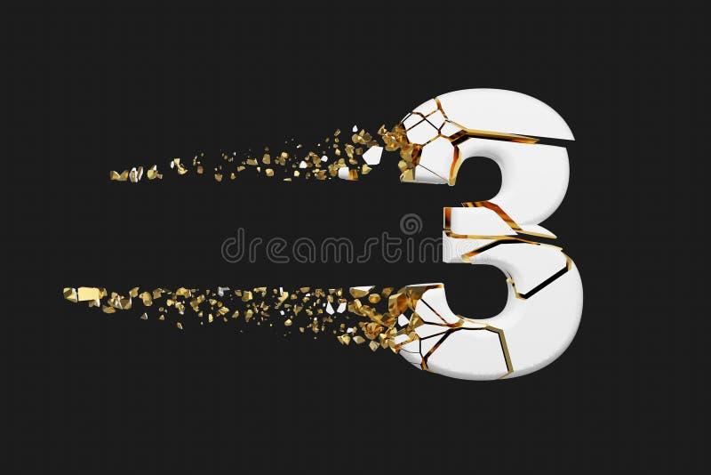 Alfabeto roto quebrado número 3 Fuente machacada del blanco y del oro 3D rinden aislado en fondo gris stock de ilustración