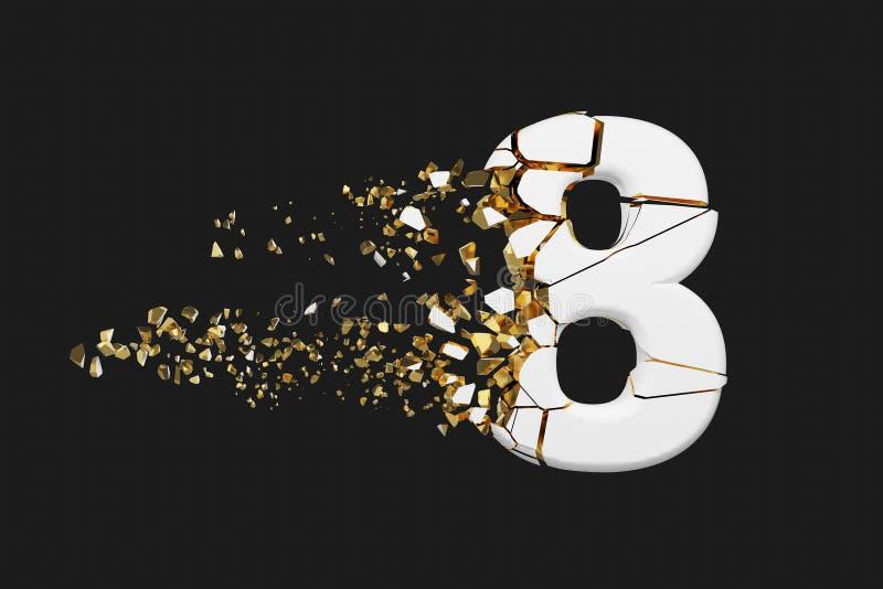 Alfabeto roto quebrado número 8 Fuente machacada del blanco y del oro 3D rinden aislado en fondo gris libre illustration