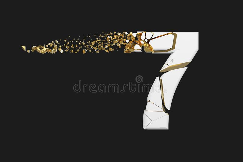 Alfabeto roto quebrado número 7 Fuente machacada del blanco y del oro 3D rinden aislado en fondo gris ilustración del vector