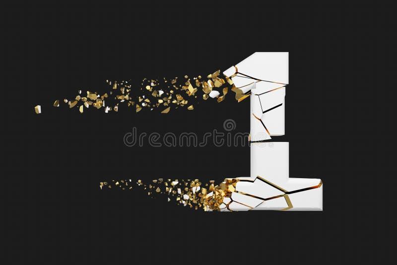 Alfabeto roto quebrado número 1 Fuente machacada del blanco y del oro 3D rinden aislado en fondo gris stock de ilustración