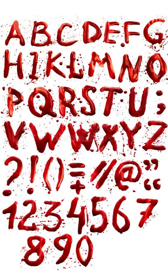 Alfabeto sangriento (fuente) fotografía de archivo libre de regalías