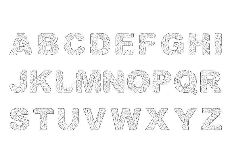 Alfabeto scheggiato e rotto immagini stock