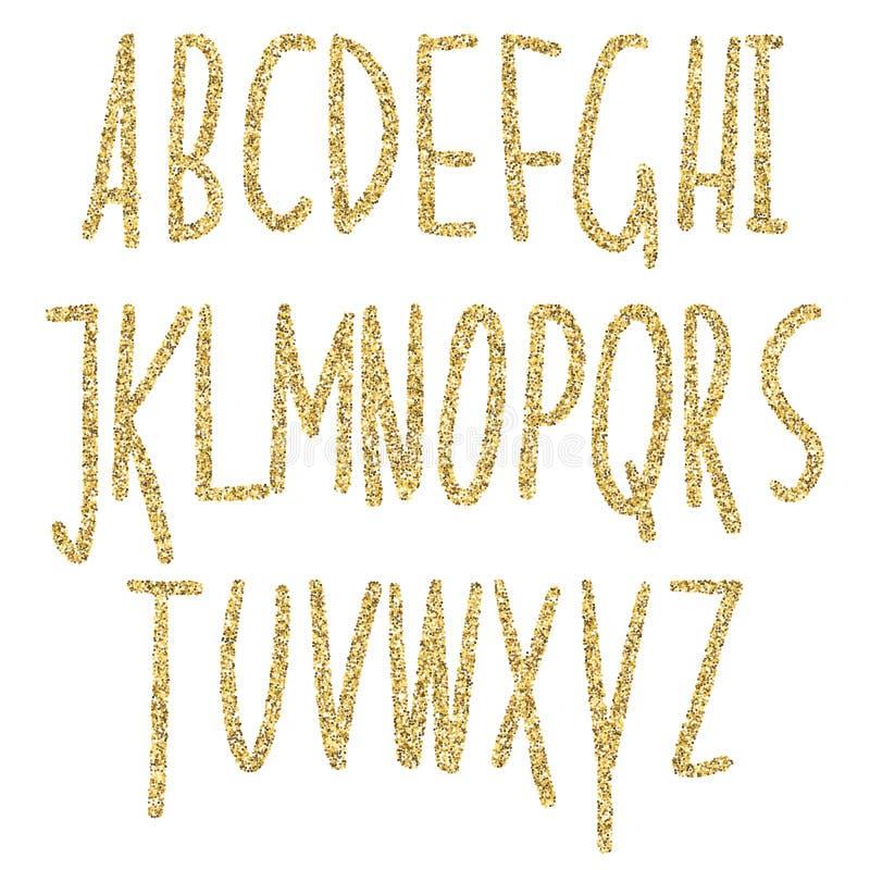 Alfabeto scintillante di scintillio dell'oro Lettere di lusso dorate decorative ABC affascinante brillante dell'estratto Testo di illustrazione di stock