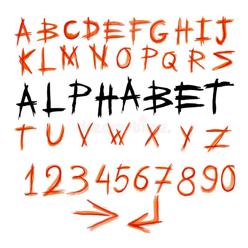Alfabeto scritto a mano dell'acquerello illustrazione di stock