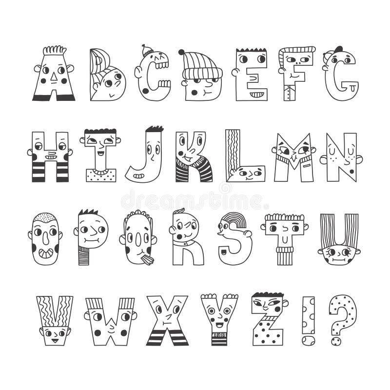 Alfabeto scritto a mano divertente del fumetto Lettere sveglie dei caratteri illustrazione di stock