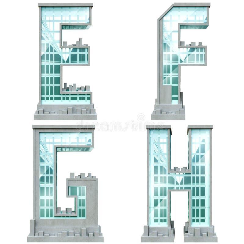 Alfabeto sob a forma das construções urbanas. ilustração do vetor