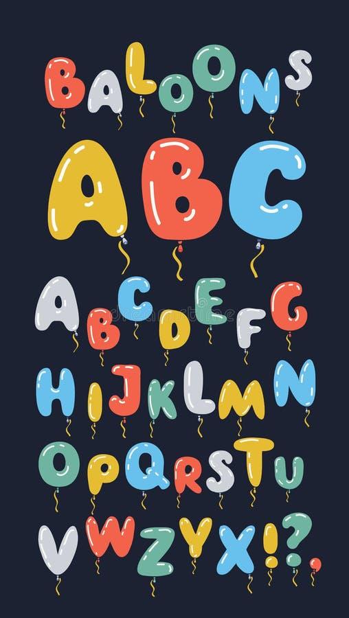 Alfabeto sob a forma dos balões Arquivo editável fácil do vetor Projeto de letras perfeito para o cartaz do festival ilustração stock