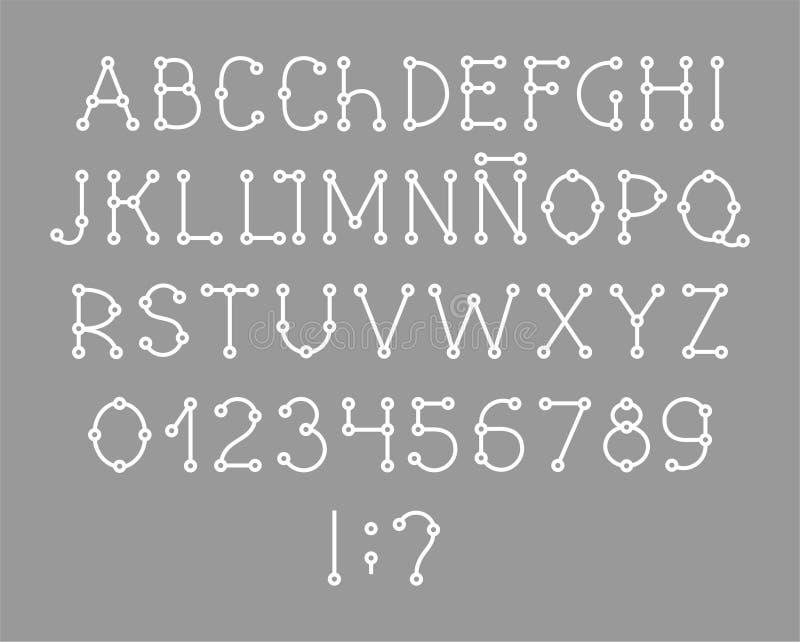 Alfabeto spagnolo, fonte, schema, bianco, vettore illustrazione di stock