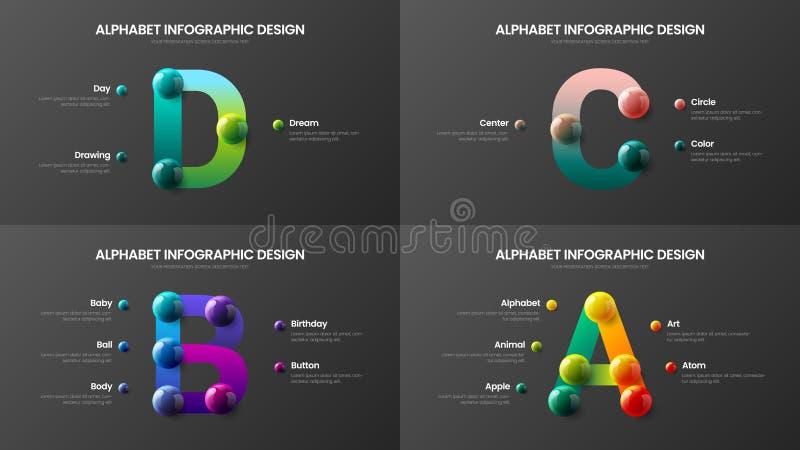 Alfabeto stupefacente A, B, C, pacco variopinto realistico infographic di vettore di presentazione delle palle 3D di simbolo di D illustrazione vettoriale