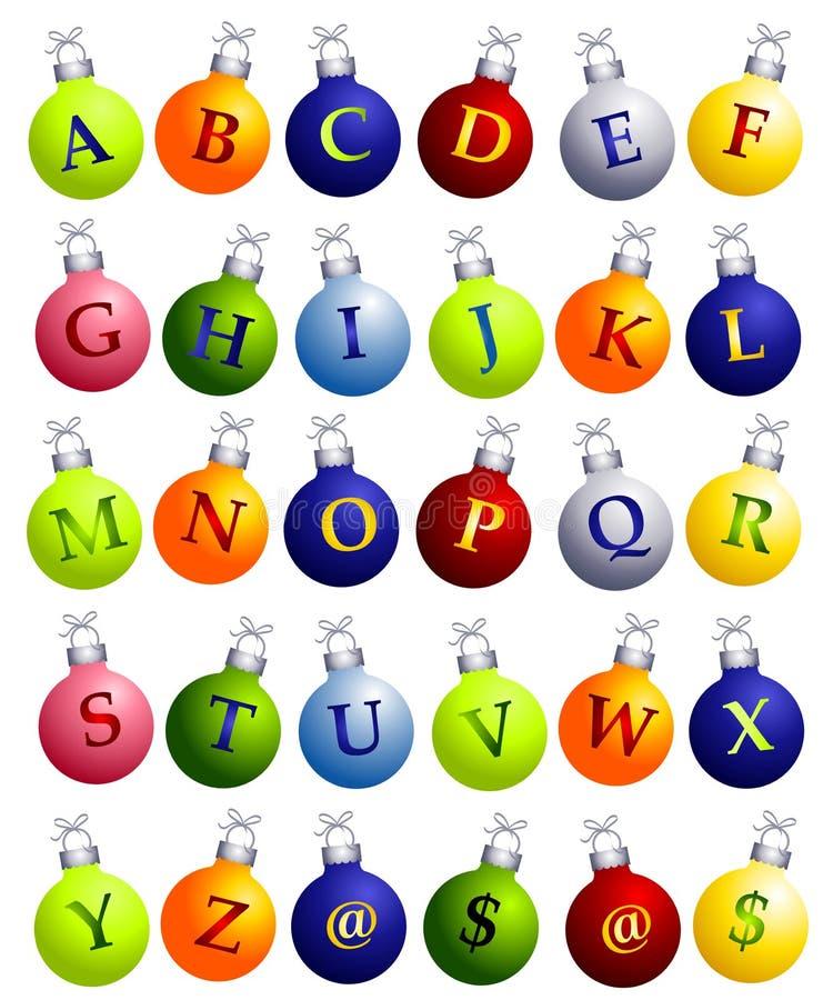 Alfabeto sugli ornamenti di natale illustrazione vettoriale