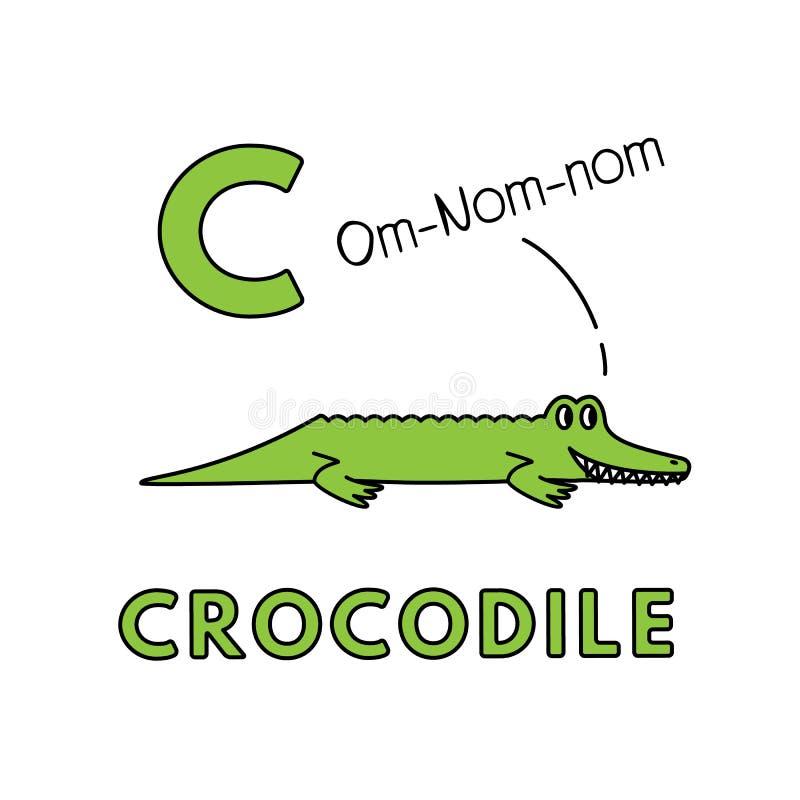 Alfabeto sveglio degli animali del fumetto di vettore Illustrazione del coccodrillo royalty illustrazione gratis