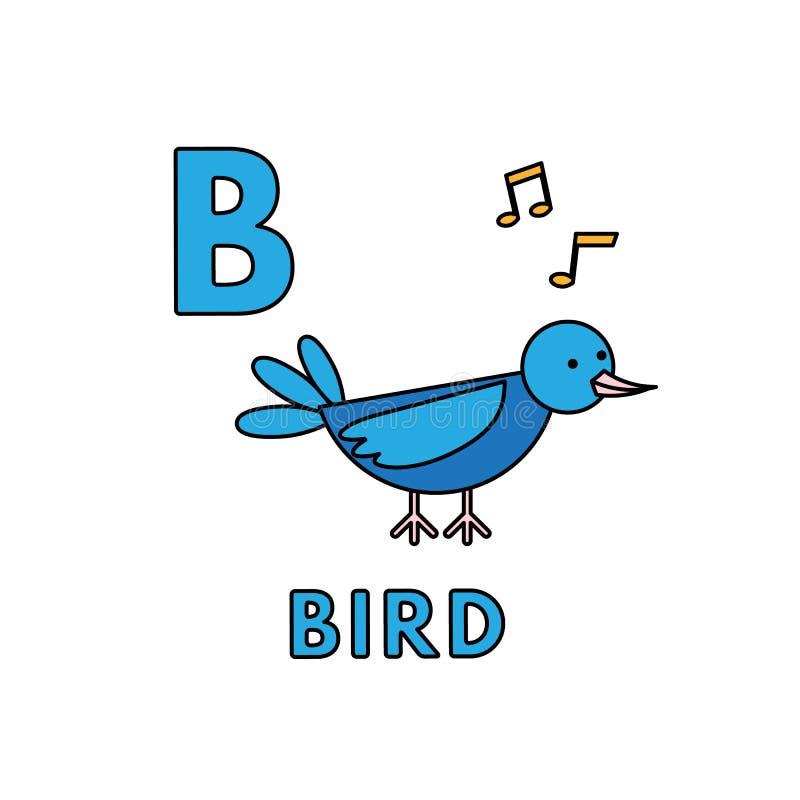 Alfabeto sveglio degli animali del fumetto di vettore Illustrazione dell'uccello illustrazione vettoriale