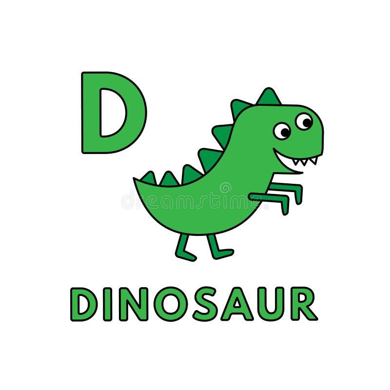 Alfabeto sveglio degli animali del fumetto di vettore Illustrazione del dinosauro royalty illustrazione gratis