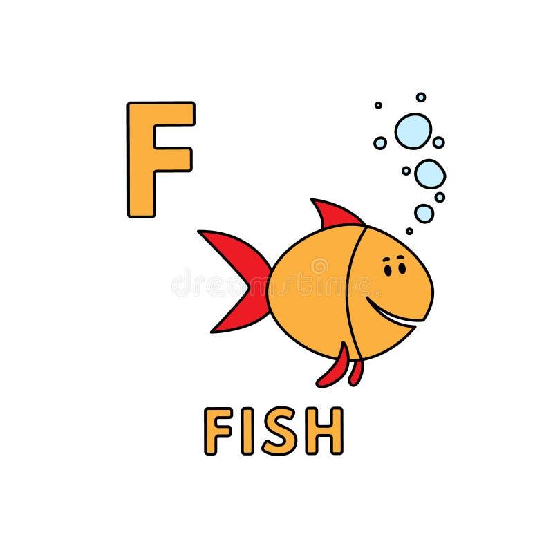 Alfabeto sveglio degli animali del fumetto di vettore Illustrazione del pesce royalty illustrazione gratis