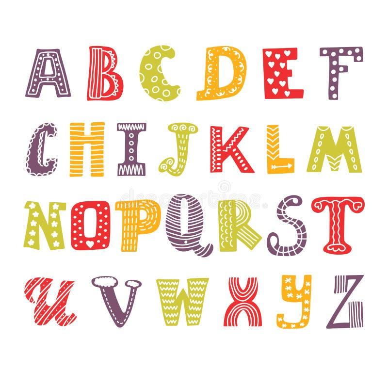 Alfabeto sveglio del disegno della mano Fonte tipografica divertente Progettazione disegnata a mano royalty illustrazione gratis