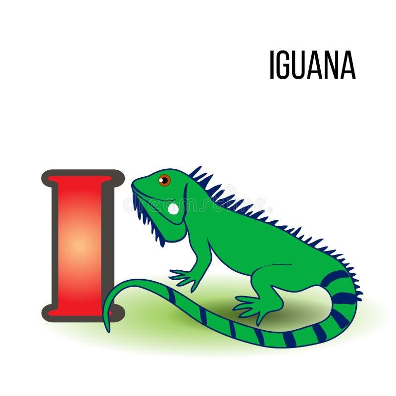 Alfabeto sveglio I dello zoo con l'iguana del fumetto, animale esotico selvaggio illustrazione vettoriale