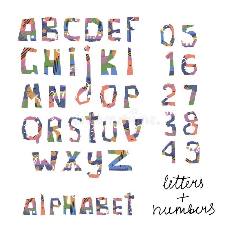 Alfabeto tagliato Lettere e numeri di Colorfull Insieme di vettore illustrazione di stock