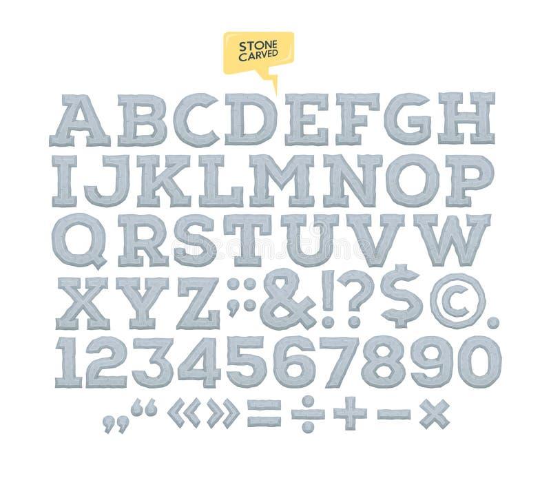 Alfabeto tallado piedra del vector cartas números hechos de piedra stock de ilustración