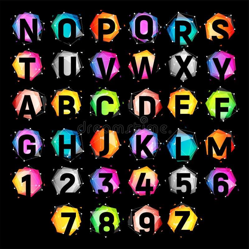 Alfabeto tecnologico no figuras geométricas com efeito transparente da folha de prova Letras de coleção coloridas brilhantes sobr ilustração royalty free