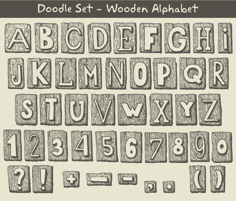 Alfabeto tirado mão ilustração do vetor
