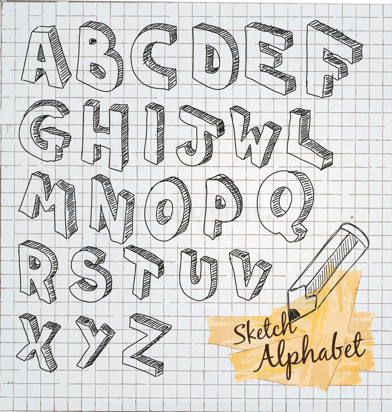 Alfabeto tirado mão do esboço 3D ilustração stock