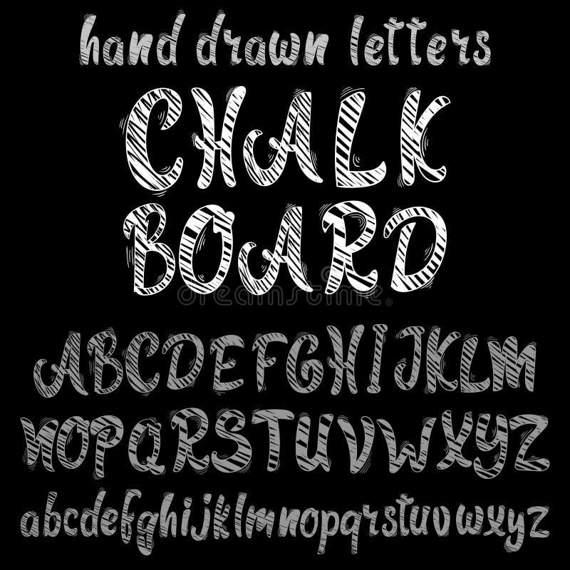 Alfabeto tirado mão do giz, fonte de vetor ilustração do vetor