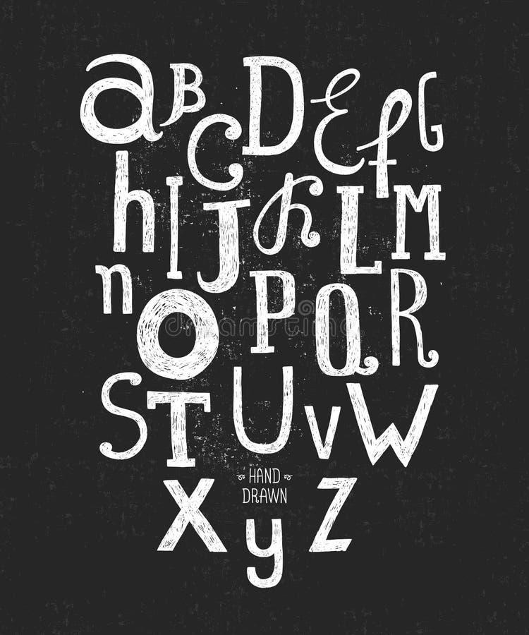 Alfabeto tirado mão do vetor ilustração do vetor