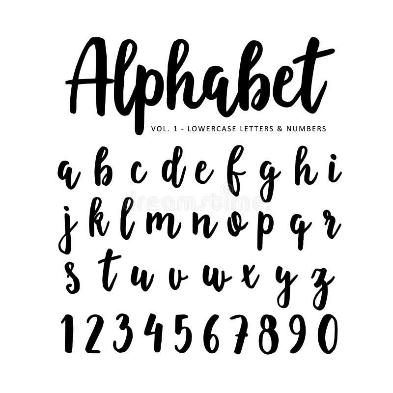 Alfabeto tirado mão do vetor, fonte Letras isoladas e números escritos com marcador ou tinta, roteiro da escova ilustração do vetor