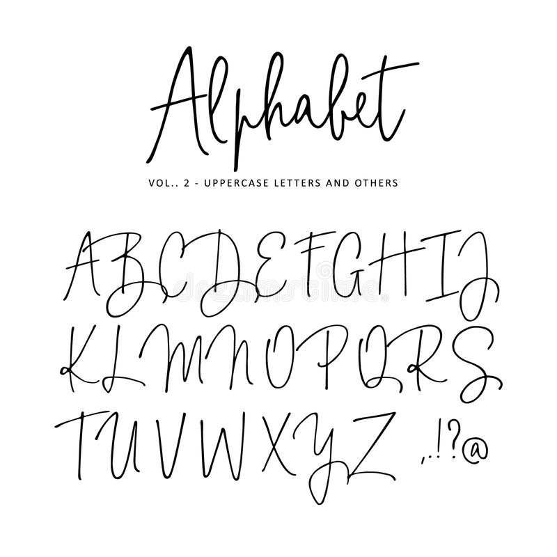 Alfabeto tirado mão do vetor Fonte moderna do roteiro da assinatura do monoline Letras de caixa isoladas, iniciais escritas com ilustração royalty free