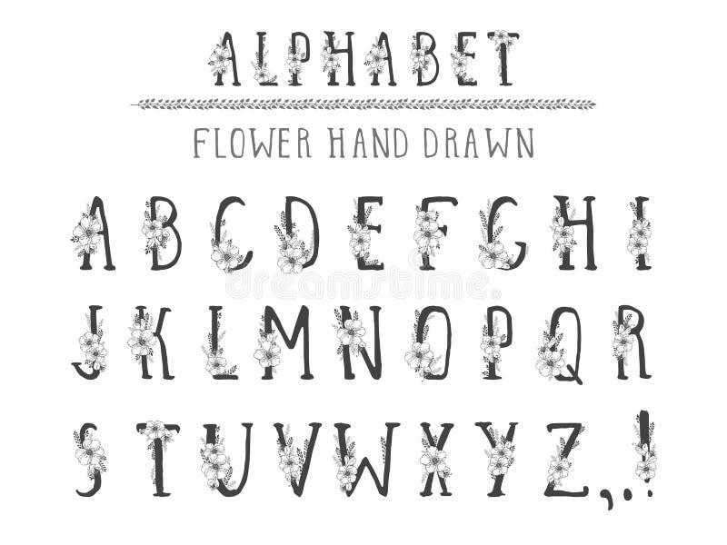 Alfabeto tirado mão do vetor no grunge do estilo Letras principais ilustração royalty free