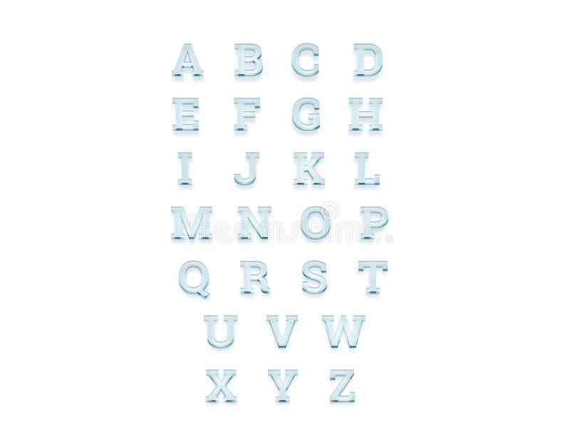 Alfabeto trasparente di vetro, vista frontale, rappresentazione 3d illustrazione vettoriale