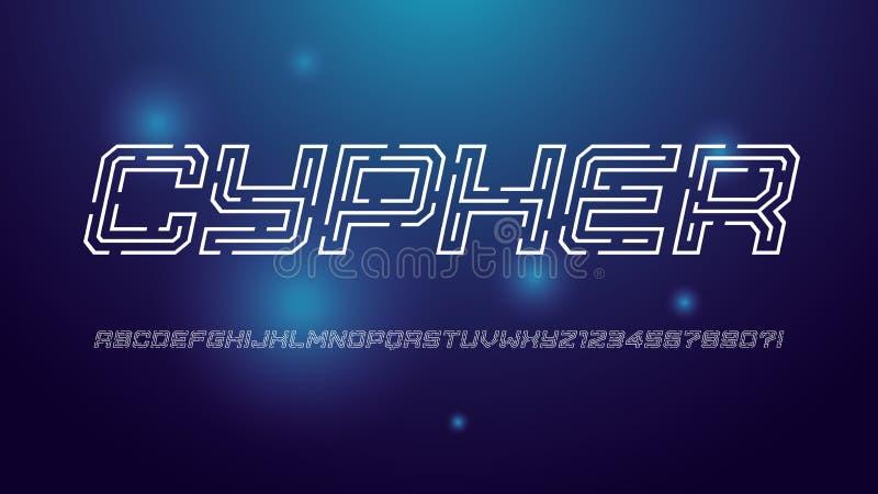 Alfabeto tratteggiato di vettore di tecnologia digitale d'avanguardia, insieme della lettera maiuscola, fonte, tipografia royalty illustrazione gratis