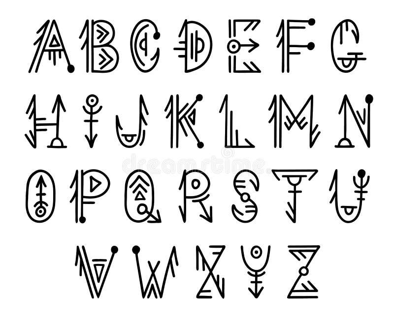 Alfabeto tribal en estilo del boho Adornos populares escandinavos Letras dibujadas a mano ilustración del vector