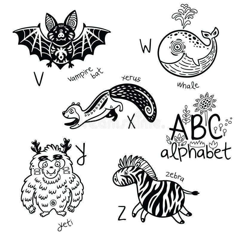 Alfabeto V De Los Animales - Z Para Los Niños Página Del Colorante ...