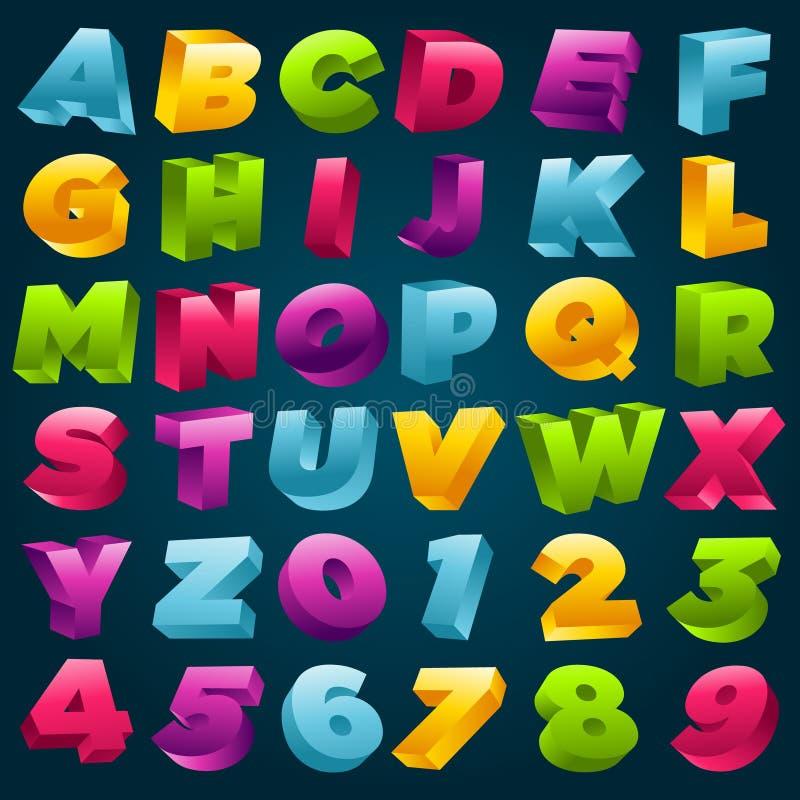 Alfabeto variopinto 3D e numeri illustrazione di stock