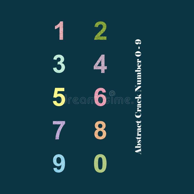 Alfabeto variopinto astratto numeri 0 - 9 della crepa fotografie stock libere da diritti