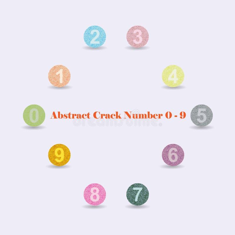 Alfabeto variopinto astratto numeri 0 - 9 della crepa immagini stock