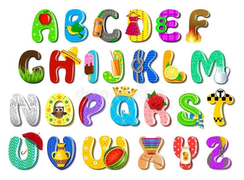 Alfabeto variopinto dei bambini illustrazione vettoriale