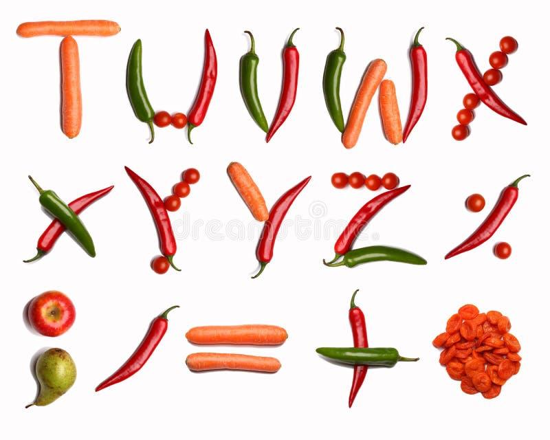 Alfabeto vegetal fotos de stock