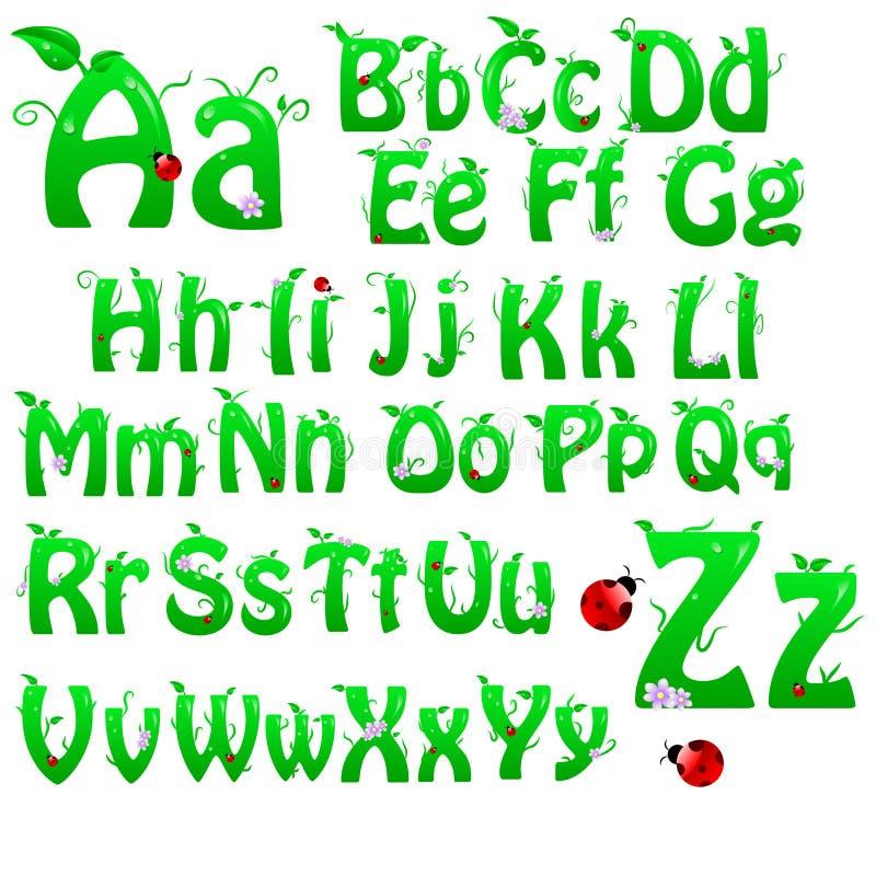 Alfabeto verde ilustración del vector